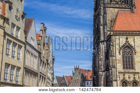 Facades And Church Tower At The Principal Market Square In Munster