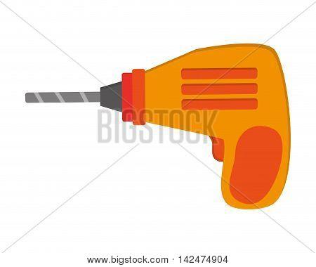 flat design hand drill icon vector illustration