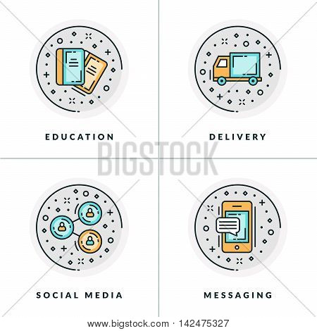 Business And Working. Set Of Four Icons On Education, Delivery, Social Media, Messaging. Colored In