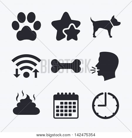 Pets icons. Dog paw and feces signs. Clean up after pets. Pets food. Wifi internet, favorite stars, calendar and clock. Talking head. Vector