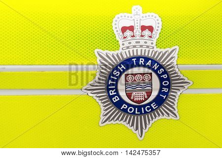 London UK - June 21 2016: logo of the British Transport Police on a police car. The BTP is a special police force that polices railways and light-rail systems in England Scotland and Wales