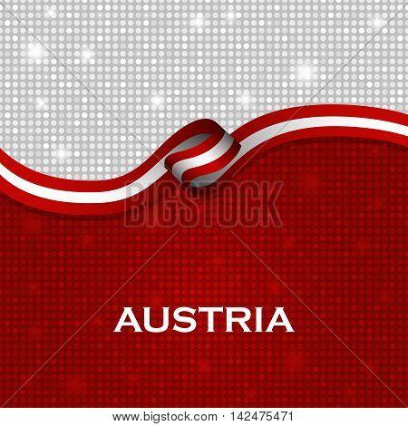 Austria flag ribbon shiny particle style. Vector Illustration