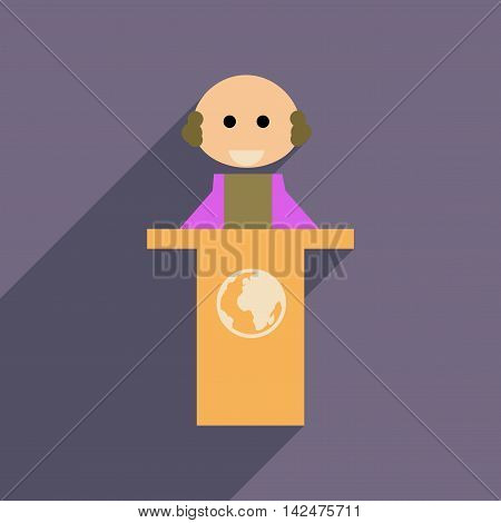 Flat web icon with  long shadow man stands Tribune