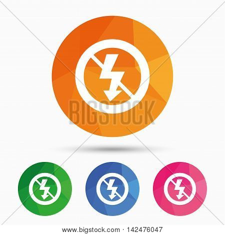 No Photo flash sign icon. Lightning symbol. Triangular low poly button with flat icon. Vector