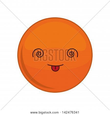 Kawaii crazy sphere expression cartoon face icon. Isolated and flat illustration