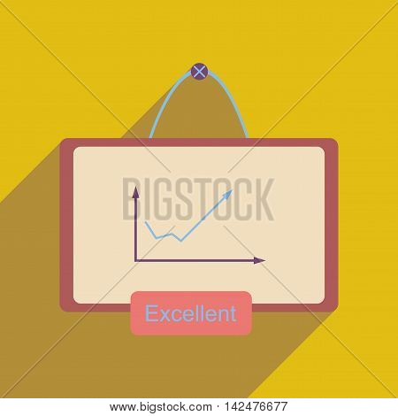 Flat web icon with long  shadow graph board