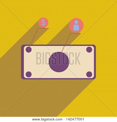 Flat web icon with long  shadow banknote infographics