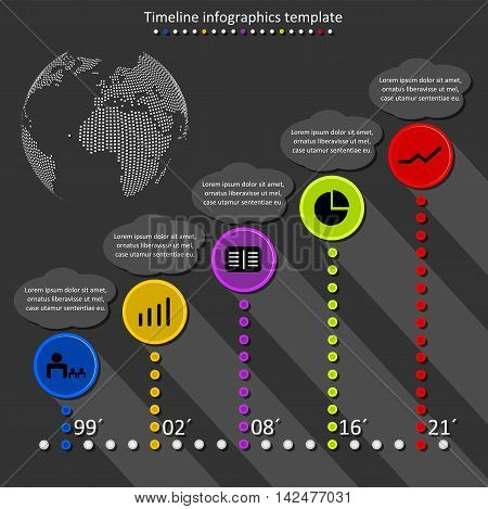 Infographic timeline vector. Company history template. Biggest milestones and events with descriptions with globe..