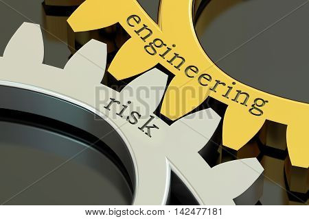 Engineering Risk concept on the gearwheels 3D rendering