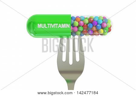 fork with multivitamin capsule 3D rendering isolated on white background