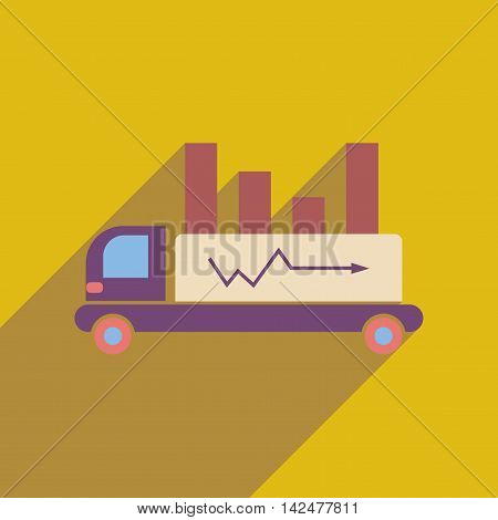 Flat web icon with long  shadow truck chart