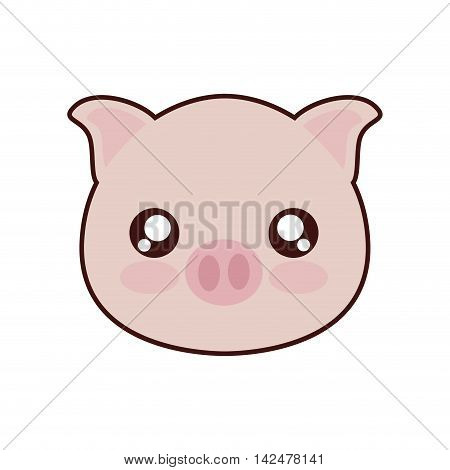 pig kawaii cute animal little icon. Isolated and flat illustration
