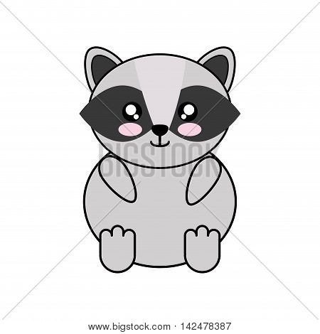 raccoon kawaii cute animal little icon. Isolated and flat illustration