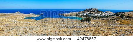 Panoramic landscape of Lindos  bay, Rhodes, Greece