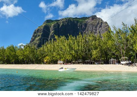 LE MORNE, MAURITIUS ISLAND - JUNE 22, 2016: Beach at Le Morne Brabant, a rugged mountain in the southwest of Mauritius, Republic of Mauritius, June 22, 2016