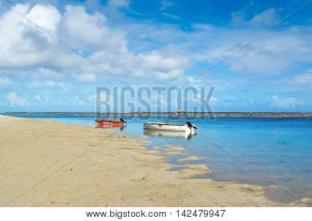 BEL OMBRE, MAURITIUS ISLAND - JUNE 16, 2016: Boats in Bel Ombre beach, Mauritius island, June 16, 2016