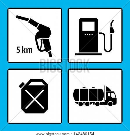 Set of icons for gas station. Vector Illustration. pictogram collection.