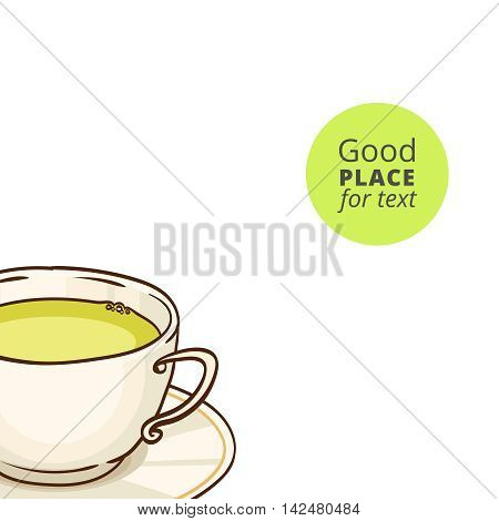 Cup of green tea with saucer. Vector hand drawn illustration, isolated on white, with place for text