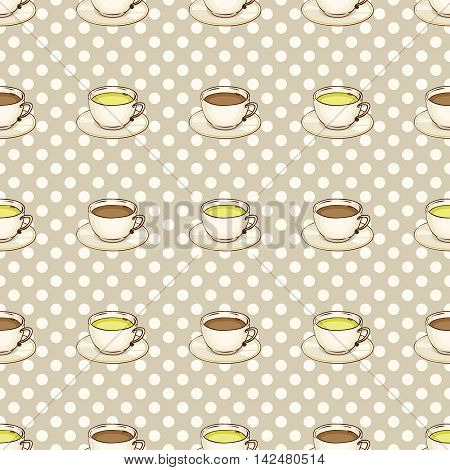 Cup of coffee or black tea and green tea with saucer. Vector hand drawn illustration. Tileable spotted seamless pattern