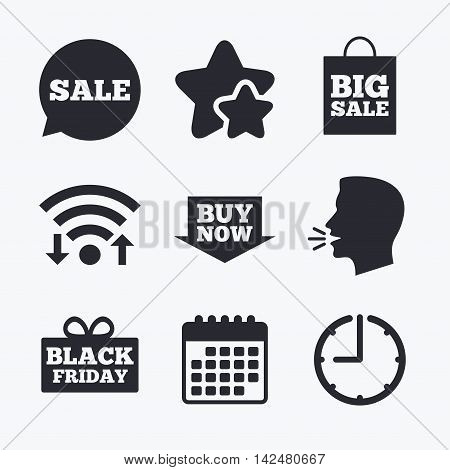 Sale speech bubble icons. Buy now arrow symbols. Black friday gift box signs. Big sale shopping bag. Wifi internet, favorite stars, calendar and clock. Talking head. Vector
