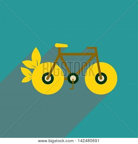 Flat web icon with long  shadow bicycle, vector
