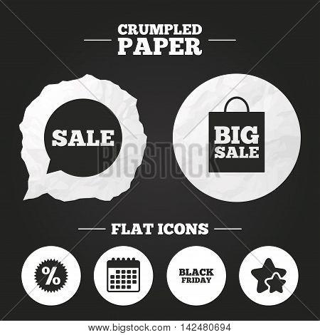 Crumpled paper speech bubble. Sale speech bubble icon. Discount star symbol. Black friday sign. Big sale shopping bag. Paper button. Vector