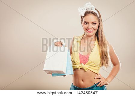 Retro Pin Up Girl Shopping