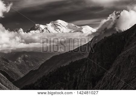 View of the Mont-Blanc peak from Lac d'Emosson near Swiss city of Finhaut and French city of Chaminix August