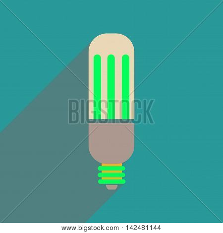 Flat web icon with long  shadow eco light bulb