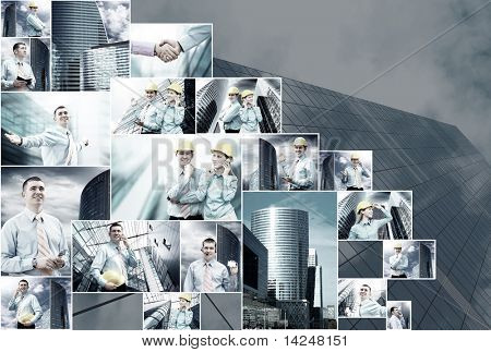 Business collage of many business images