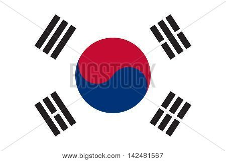Flag of South Korea in correct size proportions and colors. Accurate dimensions. South Korean national flag.