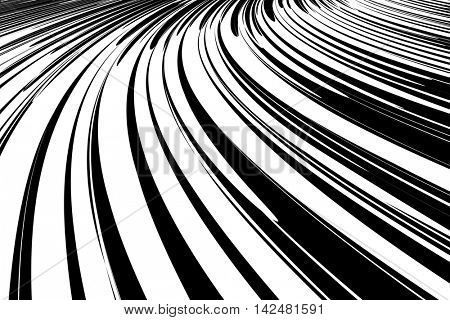 Abstract background. Effect of movement, speed and perspective. Vector art.