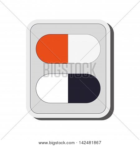 flat design medicine capsules icon vector illustration