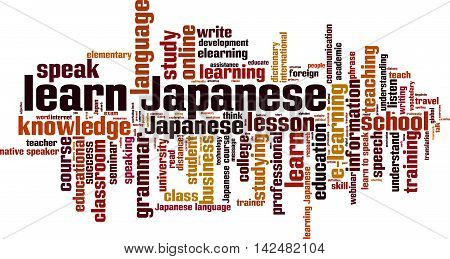 Learn Japanese word cloud concept. Vector illustration
