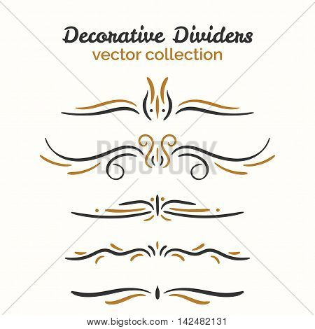 Flourish elements. Hand drawn dividers set. Ornamental decorative element. Vector ornate design. Text divider collection.