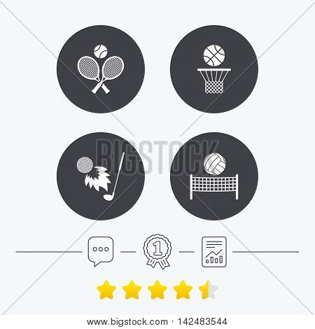 Tennis rackets with ball. Basketball basket. Volleyball net with ball. Golf fireball sign. Sport icons. Chat, award medal and report linear icons. Star vote ranking. Vector