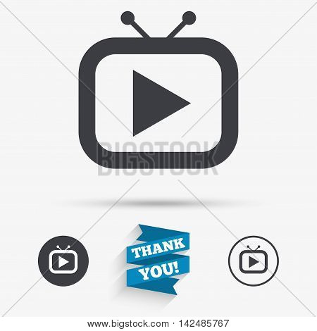 Retro TV mode sign icon. Television set symbol. Flat icons. Buttons with icons. Thank you ribbon. Vector