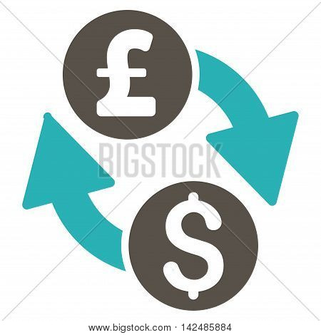 Dollar Pound Exchange icon. Glyph style is bicolor flat iconic symbol with rounded angles, grey and cyan colors, white background.
