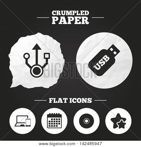 Crumpled paper speech bubble. Usb flash drive icons. Notebook or Laptop pc symbols. Smartphone device. CD or DVD sign. Compact disc. Paper button. Vector