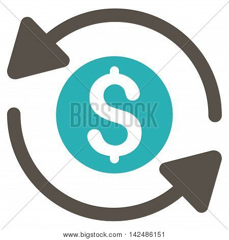 Money Turnover icon. Glyph style is bicolor flat iconic symbol with rounded angles, grey and cyan colors, white background.