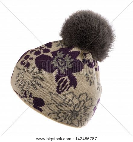 Knitted Beanie  With Pompon  Isolated On White Background