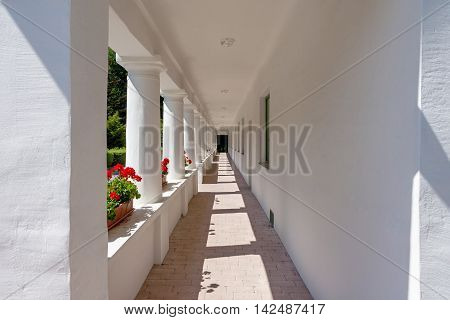 Perspective view of a corridor outside an old white house with red geraniums horizontal image
