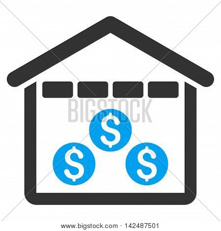 Money Depository icon. Vector style is bicolor flat iconic symbol with rounded angles, blue and gray colors, white background.