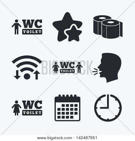 Toilet paper icons. Gents and ladies room signs. Man and woman symbols. Wifi internet, favorite stars, calendar and clock. Talking head. Vector