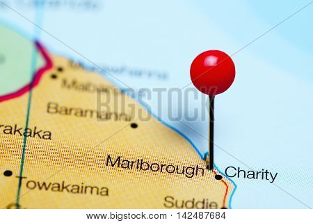 Marlborough pinned on a map of Guyana