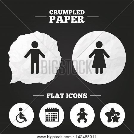 Crumpled paper speech bubble. WC toilet icons. Human male or female signs. Baby infant or toddler. Disabled handicapped invalid symbol. Paper button. Vector