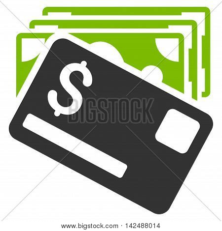 Banknotes and Card icon. Vector style is bicolor flat iconic symbol with rounded angles, eco green and gray colors, white background.