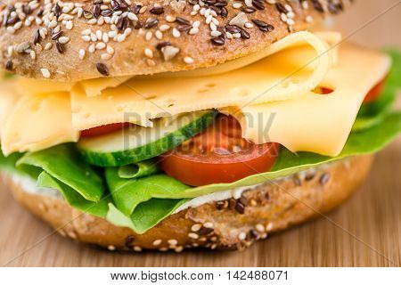 Breakfast Bagel (with Cheese; Selective Focus)