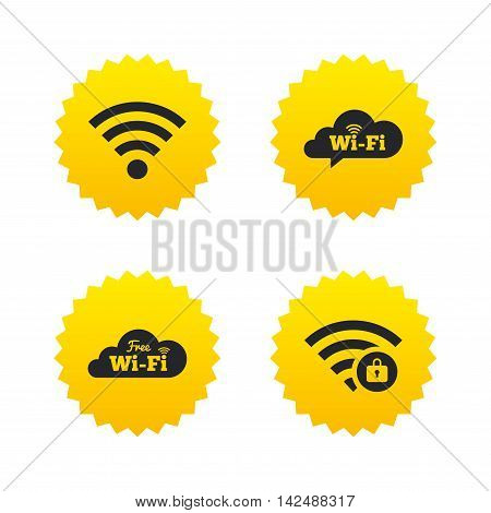 Free Wifi Wireless Network cloud speech bubble icons. Wi-fi zone locked symbols. Password protected Wi-fi sign. Yellow stars labels with flat icons. Vector