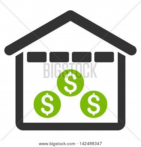 Money Depository icon. Vector style is bicolor flat iconic symbol with rounded angles, eco green and gray colors, white background.